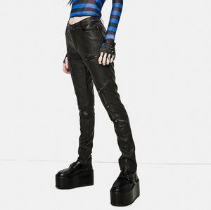 Devil Fashion zipper detail faux leather pants